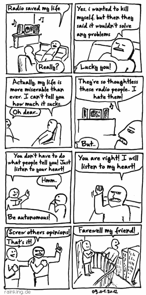 Comic about radio and suicide