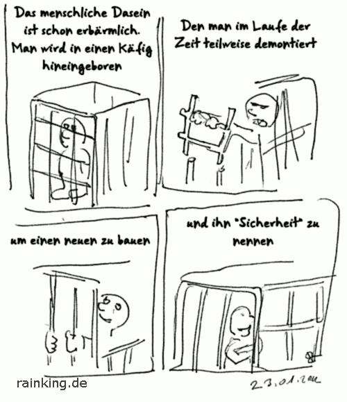 Comic Käfig menschheit Sicherheit