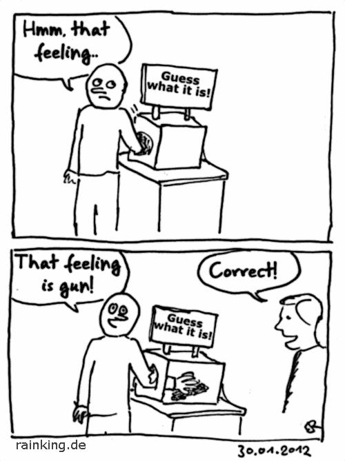 comic feeling is gun pun