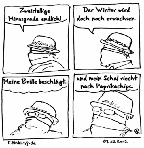 comic winter erwachsen Schal zweistellige minusgrade chips paprika