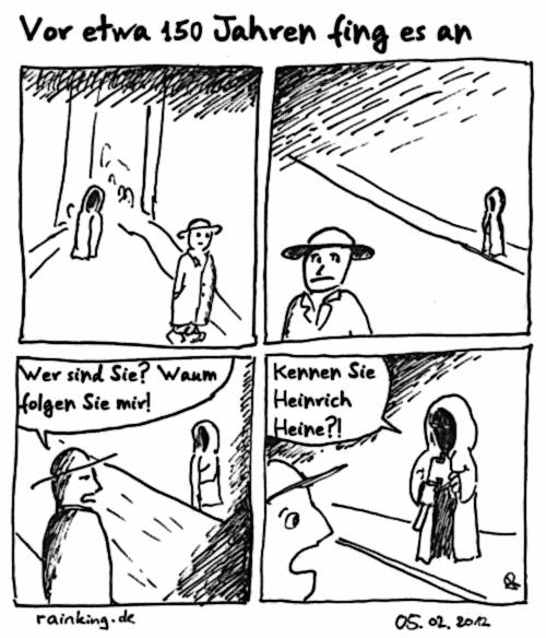 Comic Anspielung Heinrich Heine Axt Beil Kapuze