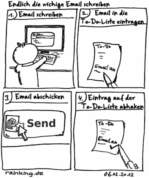 Comic email Prokrastination To-Do Liste abhaken