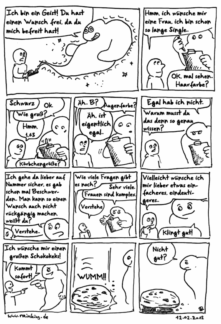 comic geist wunsch frau kompliziert tot tod keks