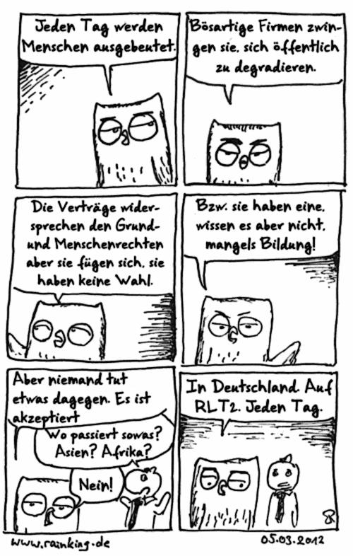 comic rtl2 satire ausbeutung menschenrechte