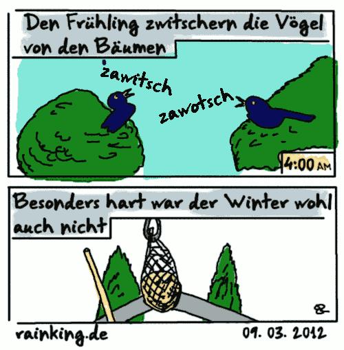 comic zawitsch zawotsch vögel winter frühling meisenknödel