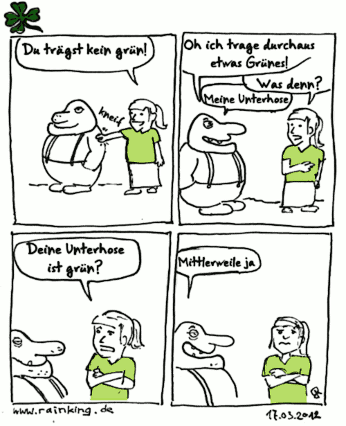 comic grün st. patrick's day unterhose dirty old man