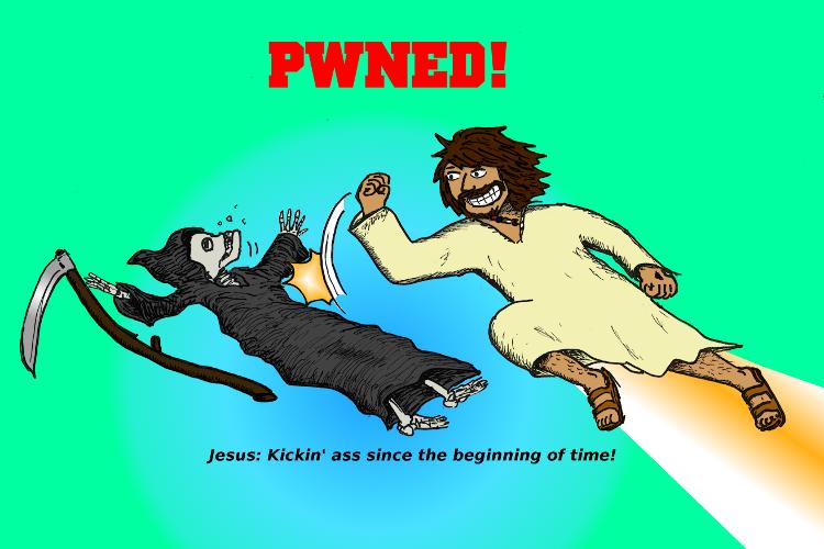 comic postkarte ostern jesus powned pwned nerd tod sense besiegt