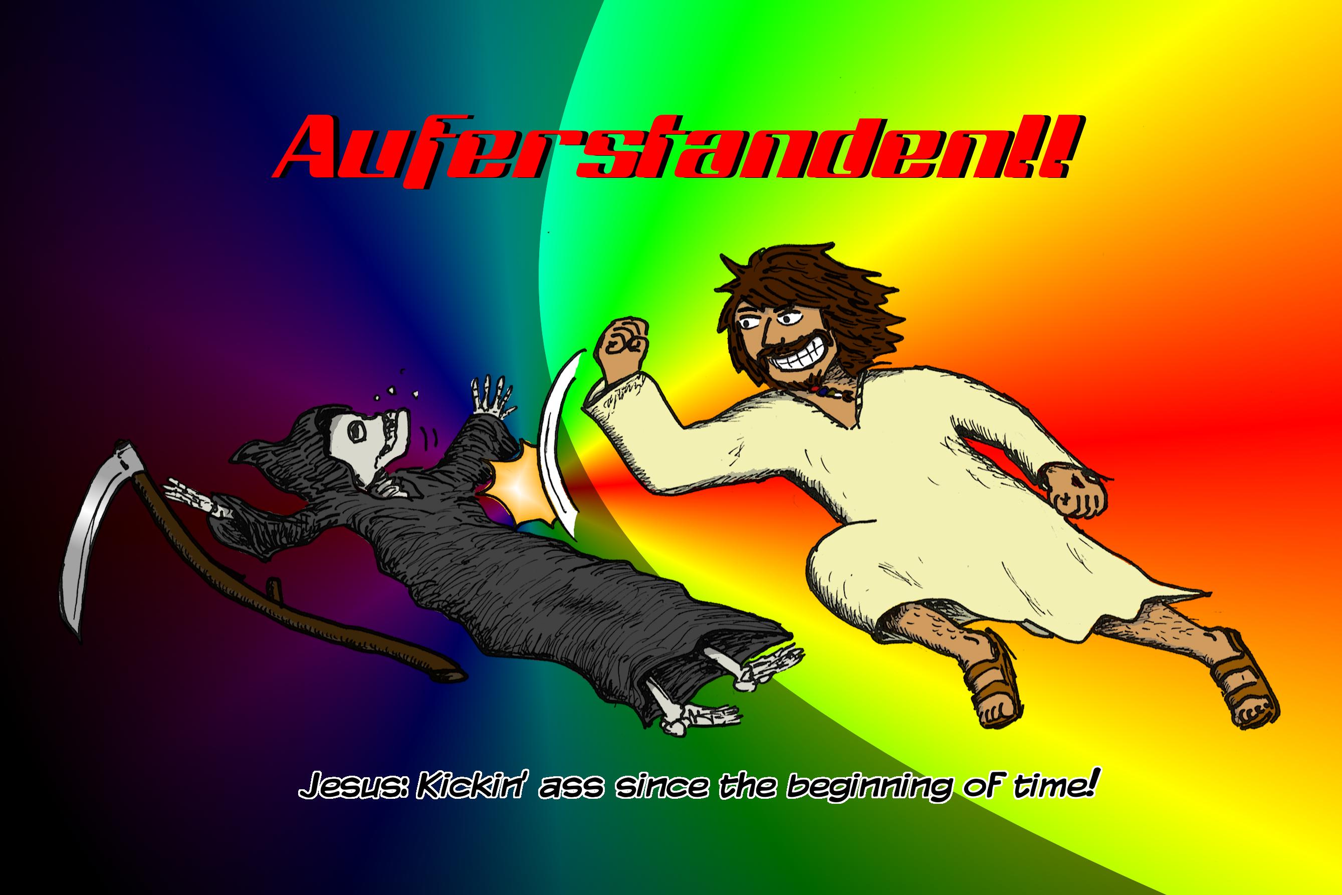 comic osterpostkarte auferstanden jesus ostern Auferstehung Tod besiegt