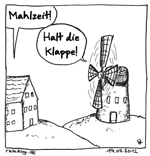 comic cartoon Mahlzeit mahlen Mühle Wortspiel