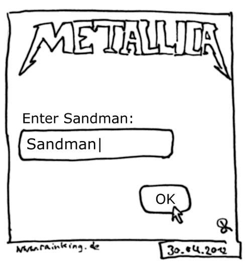 metallica enter sandman eingabefeld cursor