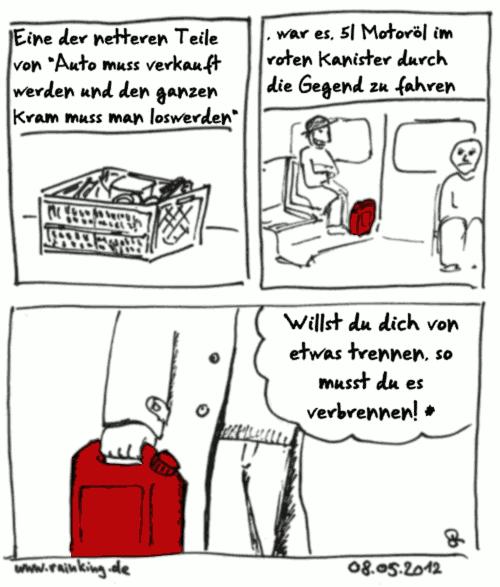 comic rot roter kanister benzin Motoröl angst verbrennen Rammstein