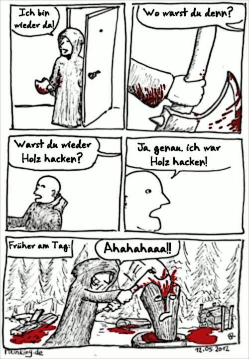 comic holz hacken Blut Mord Splatter Axt Beil