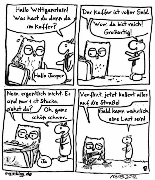 comic geld last cent Koffer Wittgenstein Jasper