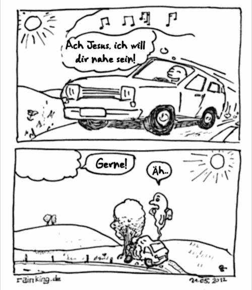 comic jesus unfall auto nah sein sterben tot tod lobpreis wunsch