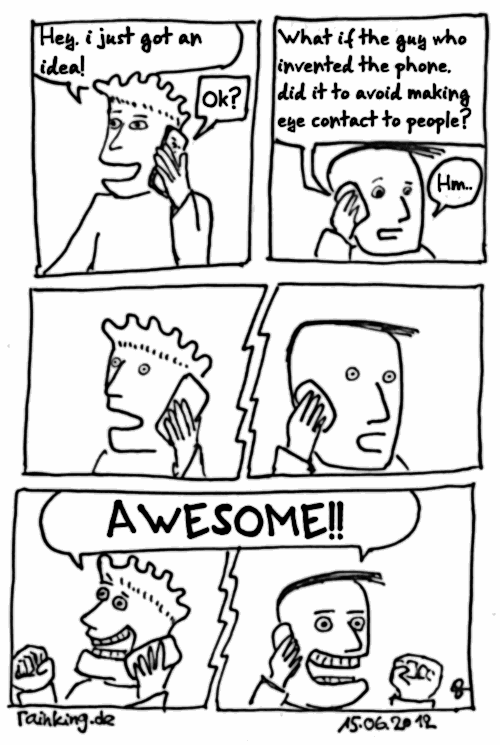 comic telephone invention avoid eye contact