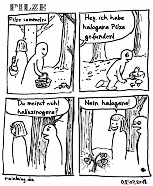 comic pilze sammeln halogen halluzinogen