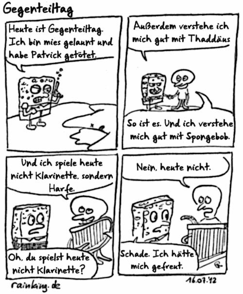 comic spongebob patrick thaddäus gegenteil