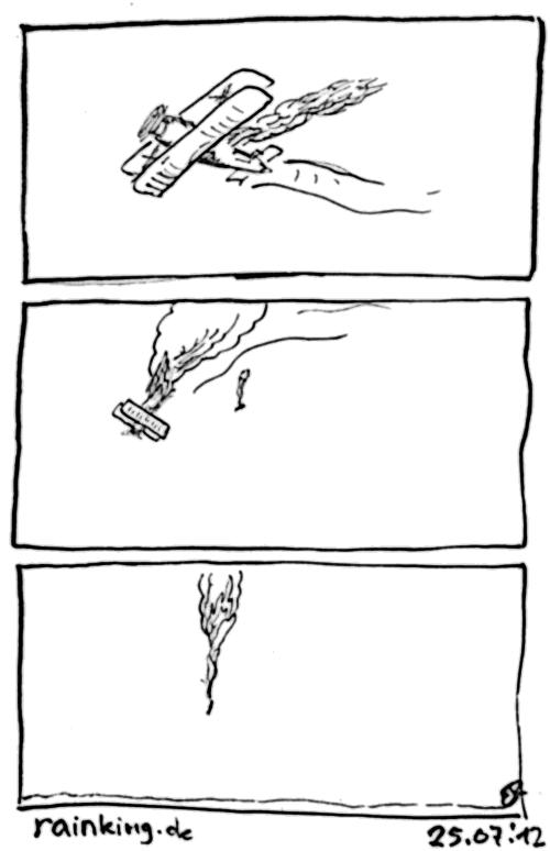 comic flugzeug brennen fallschirm absturz