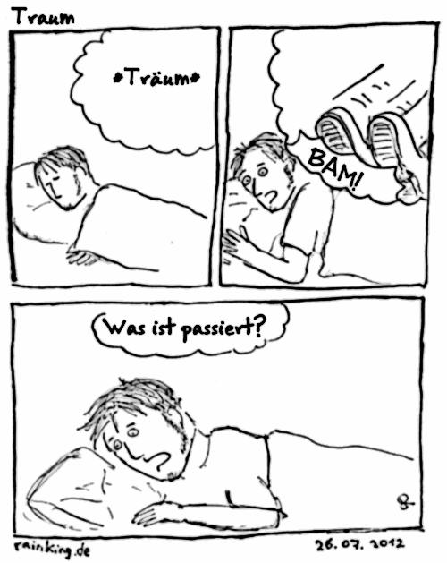 Traum Comic treten Füße erschrecken