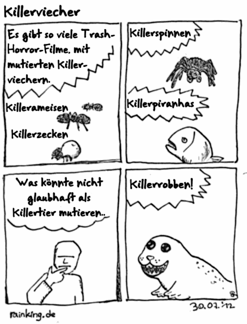 comic killerviecher spinnen piranhas zecken ameisen robben