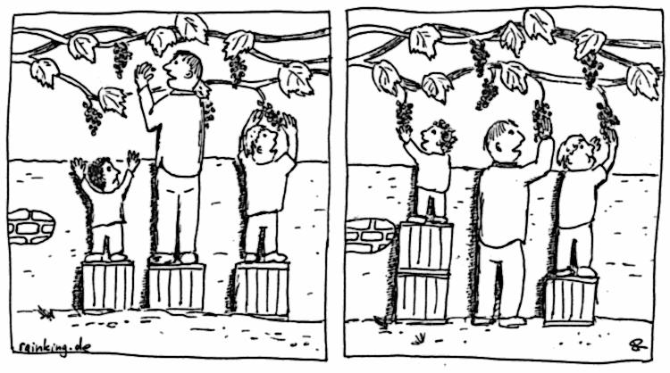 Gerechtigkeit Weintrauben Kisten