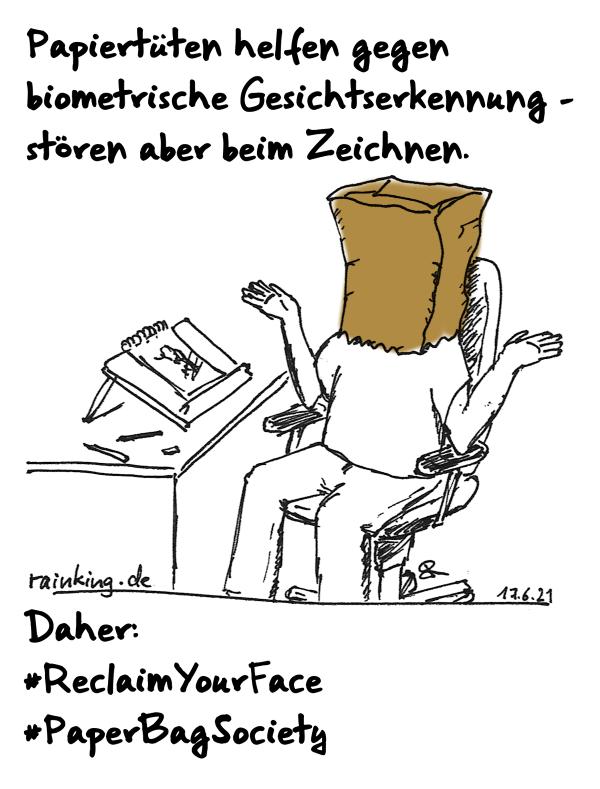Papiertüten helfen gegen biometrische Gesichtserkennung – stören aber beim Zeichnen. Daher #reclaimYourFAce #PapaerBagSociety